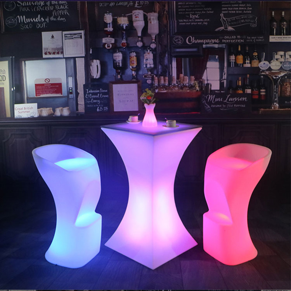 Rechargeable Lighted Up Bar Coffee Table RGB Color Changing Illuminated Cocktail Table L45*W45*H110cm Night Bar Disco Supplies