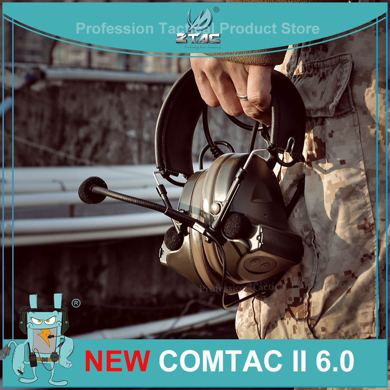 Z-TAC Pertor Tactical Headphones Comtac II 6th Circuit Board 2020 New Version 2 Modes Tactical Headset For Shooting  Z041-NEW