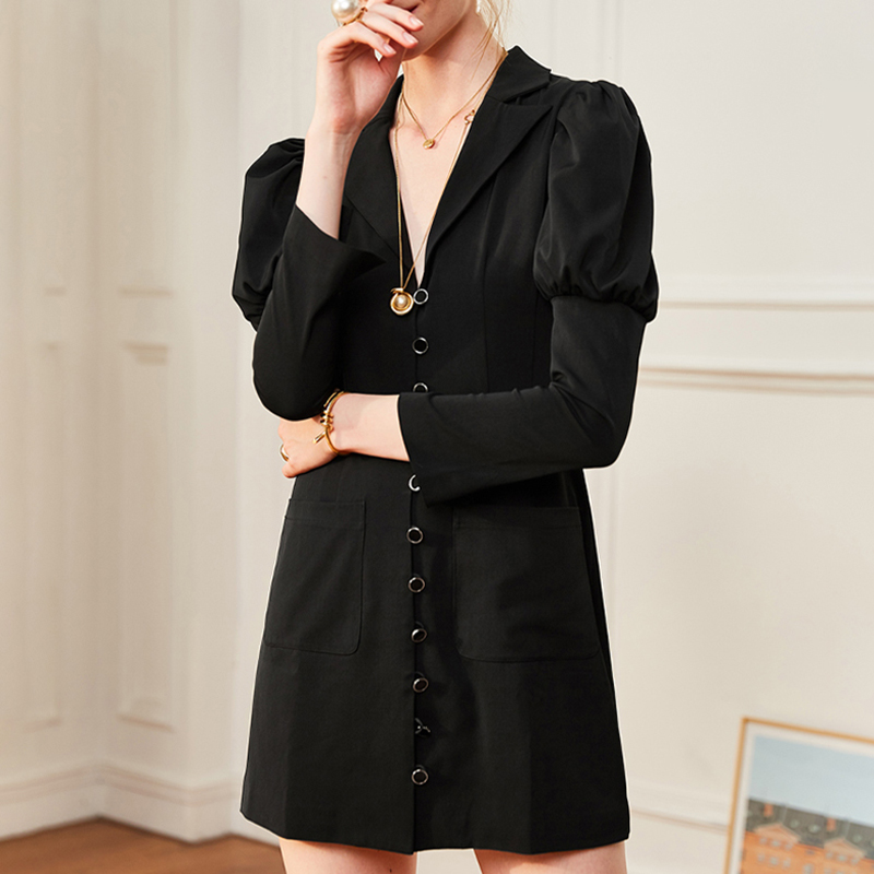 TWOTWINSTYLE Black Sexy Women Dress V Neck Puff Sleeve Bodycon High Waist Mini Female Dresses Clothes Summer 2019 Fashion Tide