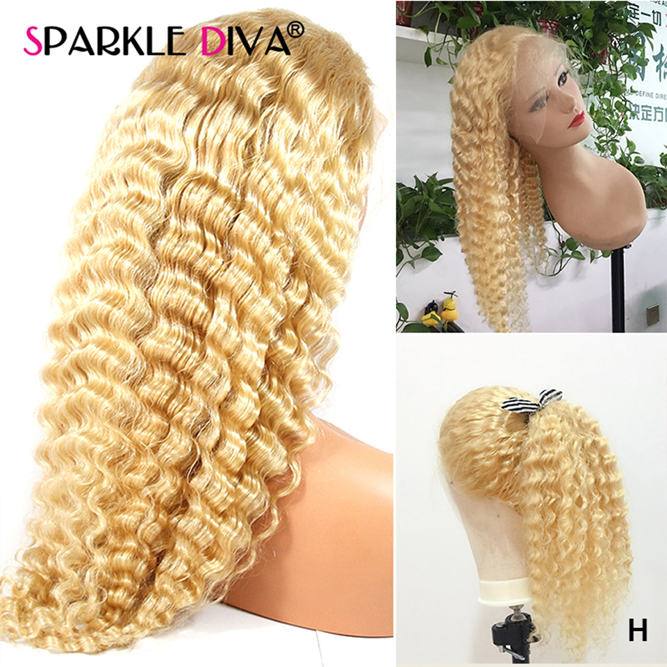 613 Blonde Lace Front Wig Brazilian Deep Wave Human Hair Wigs Pre Plucked 150% Remy Glueless 13X4 Lace Front Human Hair Wigs