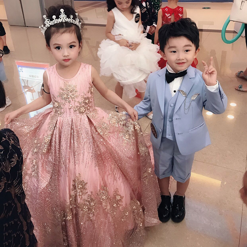 2020 New Luxury Flower Girl Dresses for Wedding Small Trailing Appliques Pearls Bling Kids Pageant Dress for Birthday Catwalk