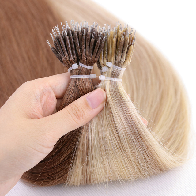 MRSHAIR Nano Rings Micro Ring 100% Human Hair Extensions Non remy Hair Brown Blonde Pure Color 50/200pc 12 16 20 24 Inch