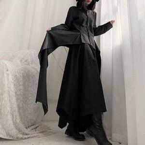 Image 5 - [Eam] 女性黒非対称リボンブラウス新ラペル長袖ルーズフィットシャツファッションタイド春秋2020 19A a544