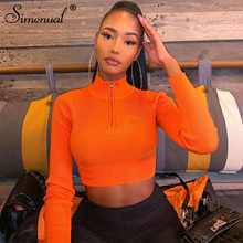 Simenual Neon Color Ribbed Fashion Women Crop Top Long Sleeve 2019 Autumn Zipper Basic T Shirts Solid Sexy Slim Tops Streetwear o ring zipper ribbed crop top