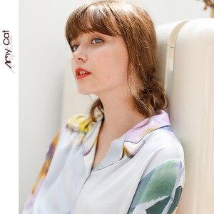 Image 5 - Mùa Thu 2019 Đùi Thun Bộ Đồ Ngủ cho Nữ Biển Bí Ẩn Sọc In Hình Đồ Ngủ Viscose Gợi Cảm Giấc Ngủ Nhà Quần Áo