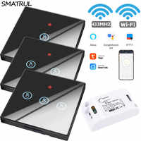 SMATRUL Tuya vie intelligente APP WiFi interrupteur tactile lumière RF 433Mhz mur bricolage relais minuterie Module Google Home Amazon Alexa 110V 220V 10A