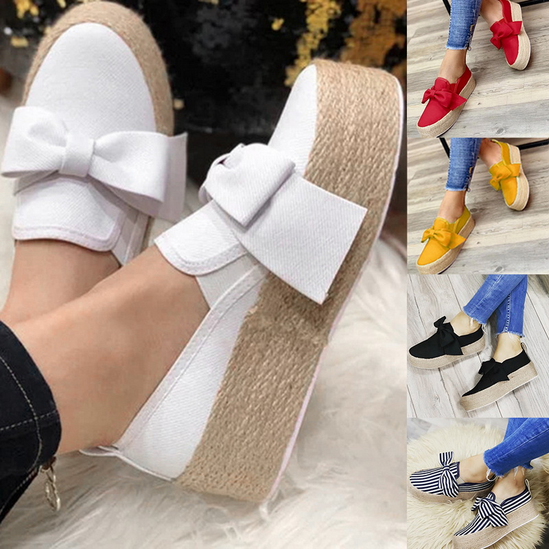 2019 Women Flats Shoes Autumn High Heel Wedges Platform Shoes Female Slip On Floral Thick Bottom Shoes Casual Ladies Sneakers
