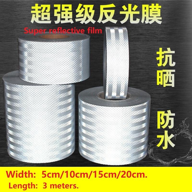 5 / 10 / 15 / 20cm Wide White Reflective Strip Car Decorative Sticker Reflective Tape Anti-collision Warning Sign
