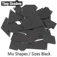 Mixed size 50pcs Black coffee Blue Acrylic Mirror sew on Rhinestones Irregular stones crystal strass acrylic mirror