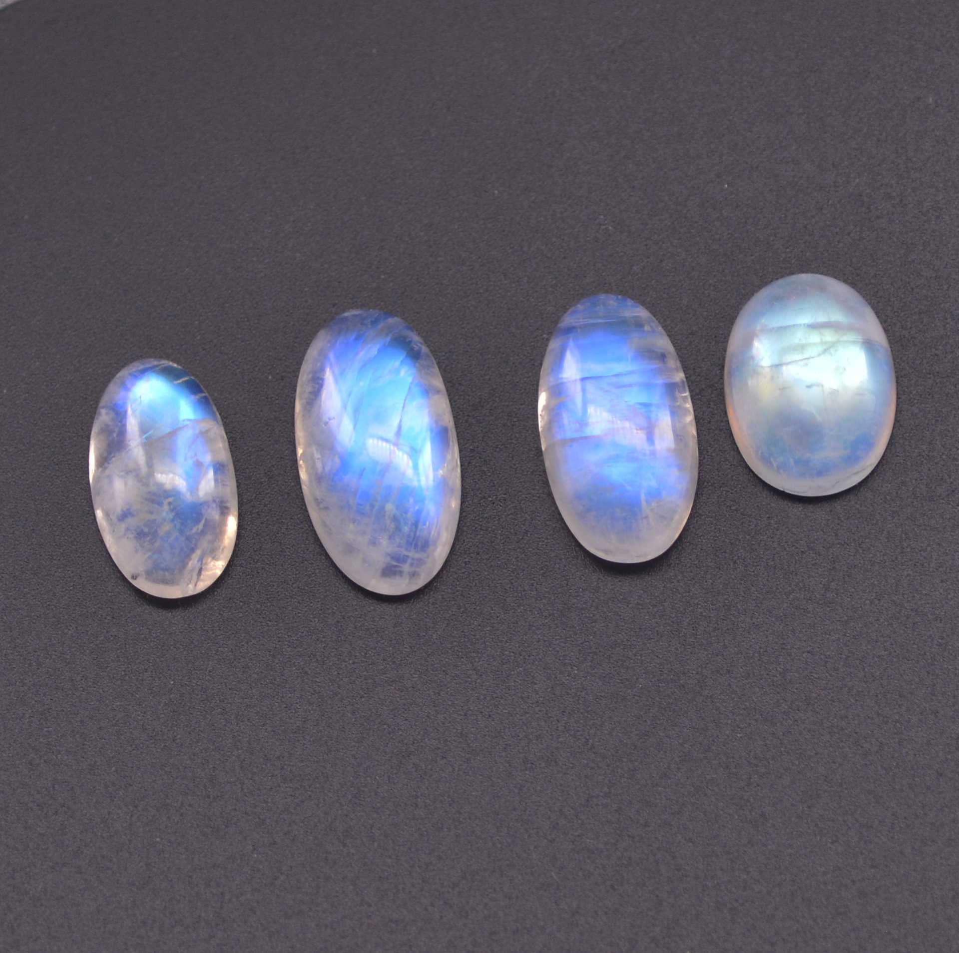 3 Pieces Natural Rainbow Moonstone Cabochons Lot 13x17mm to 11x19mm Oval Shape White Moonstone Gemstones Cab Loose Stones Smooth Gems Cabs