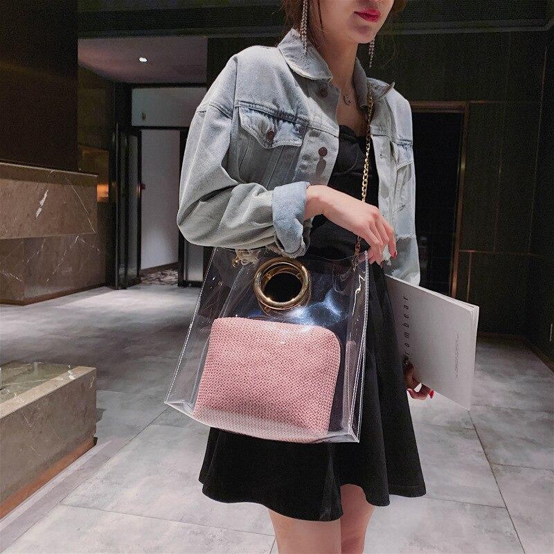 2019 new Korean Joker Messenger bag chain shoulder bag straw handbag