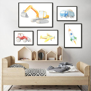 Trucks Car Poster Aircraft Canvas Painting Construction Vehicles Wall Art Print Nursery Wall Posters For Baby Room Decoration