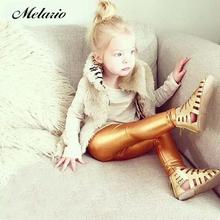 Melario 2020 nowa dziewczyna odzież ołówkowe spodnie kolorowe czerwone złoto srebrne czarne spodnie skórzane spodnie odpowiednie dla dziewcząt 4-8 lat tanie tanio Poliester spandex Akrylowe CN (pochodzenie) skinny Dziewczyny NONE Pełnej długości Elastyczny pas Wysokiej Stałe Ołówek spodnie
