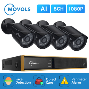 Image 1 - Movols 8CH 1080P AI CCTV Camera System IR Outdoor Weatherproof Security Camera H.265 DVR Kit Outdoor Video Surveillance System