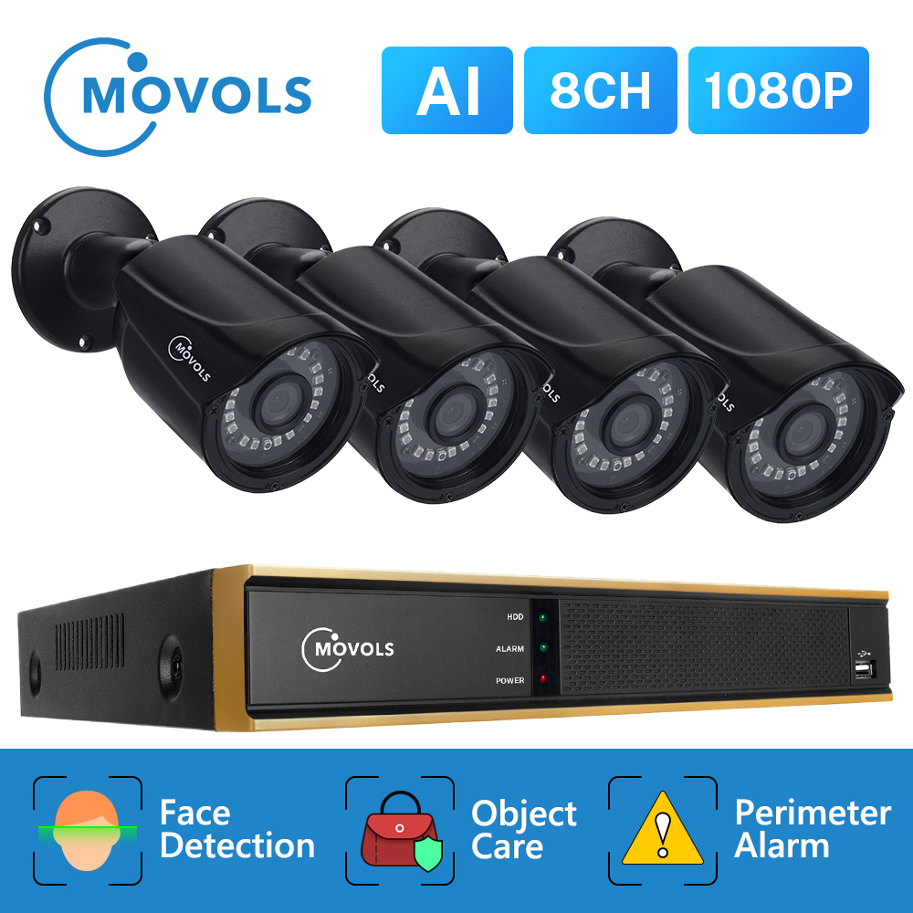 Movols 8CH 1080P AI CCTV Camera System 4PCS Outdoor Weatherproof Security Camera H.265 DVR Kit Outdoor Video Surveillance System