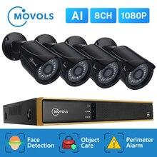 Movols 8ch 1080p ai sistema de câmera cctv ir ao ar livre à prova de intempéries câmera de segurança h.265 dvr kit ao ar livre sistema de vigilância por vídeo