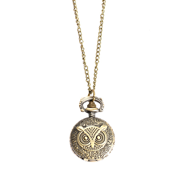 Women Men Pocket Watch Vintage Retro Small Size Owl Caving Pattern Long Necklace Clock UND Sale
