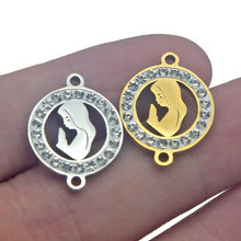 1pcs Stainless Steel Gold Virgin Mary Diamonds Charms Connectors Jewelry Accessories Women DIY Bracelet Pendant Necklace Gifts(China)