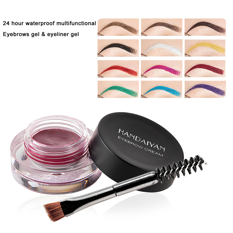 12 couleur sourcil Gel Super imperméable à l'eau sourcil crème professionnelle longue durée sans décoloration sourcil Gel teinte maquillage outils