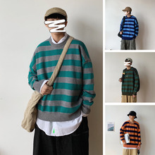 Winter Striped Sweater Men Warm Fashion Pullover Men Contrast Color Casual Knit Sweter Loose Long-sleeved Sweaters Man Clothes men contrast binding striped tee