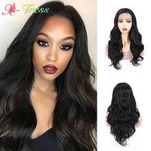 Perruques Lace Front synthétiques X-TRESS pour femmes noires, faux cheveux longs et ondulés en Fiber résistante à la chaleur