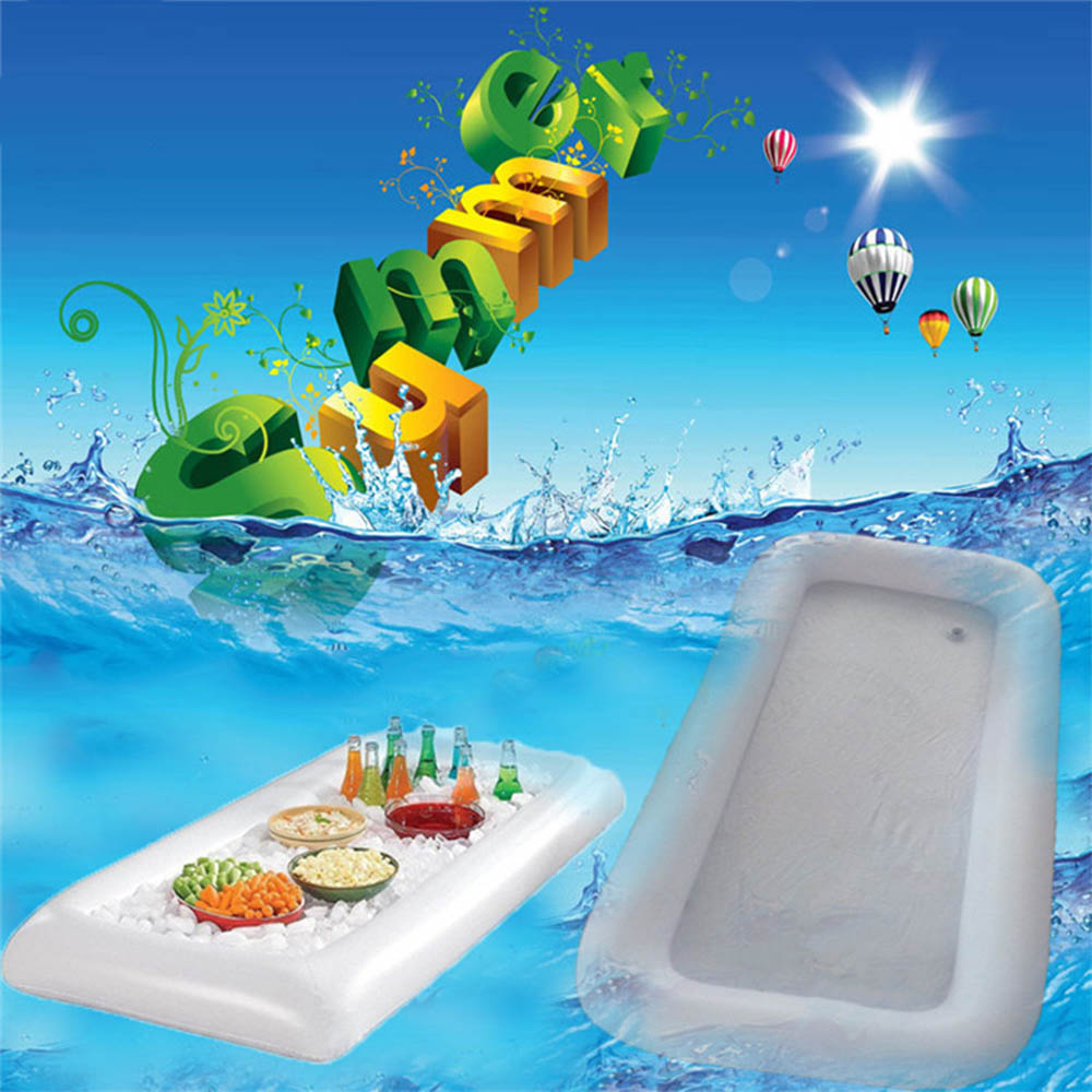 Summer Inflatable Beer Table Pool Float Water Party Air Mattress Ice Bucket Serving Bar Salad Buffet Ice Cooler Picnic Drink J74