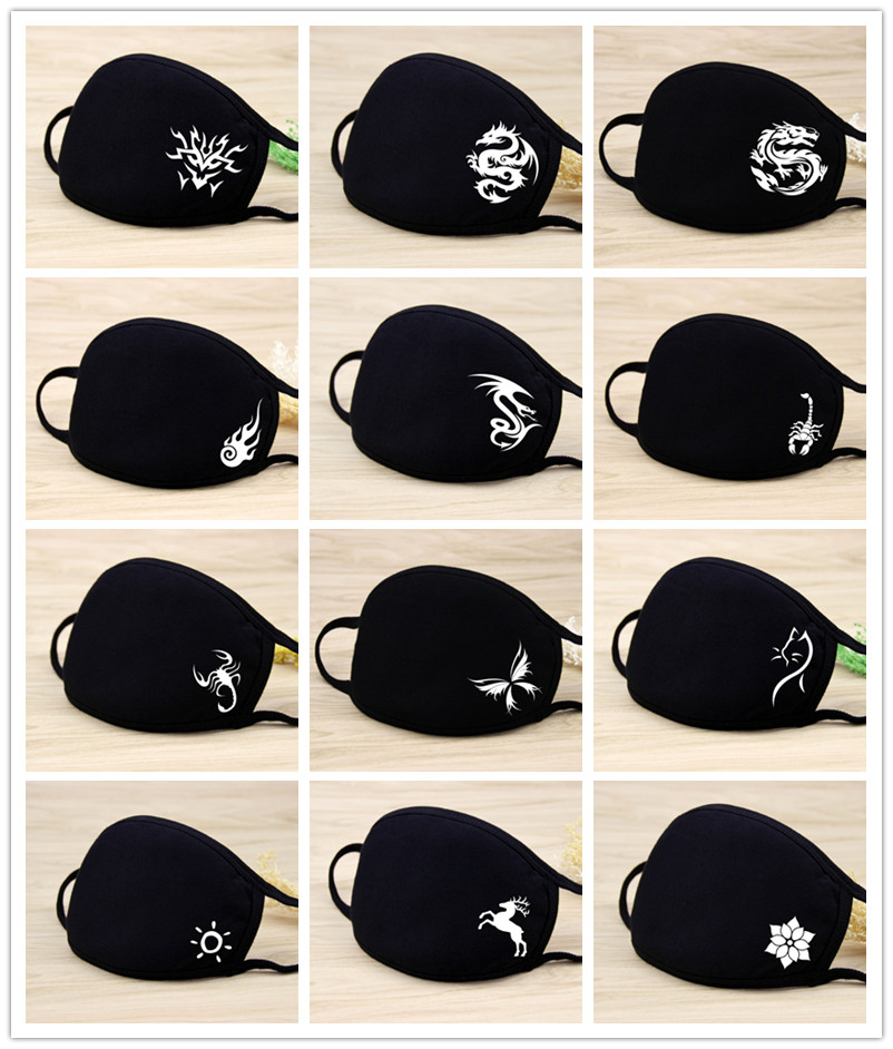 Black Mask Men/women Korean Style Cartoon Dustproof Cotton Breathable Riding Sunscreen UV Summer Thin Mask