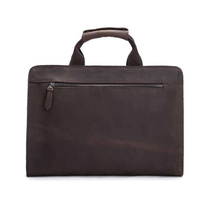 GO LUCK, натуральная кожа Crazy Horse, с верхней ручкой, 14 дюймов, деловой портфель, сумка, мужская сумка через плечо, мужские сумки мессенджеры - 2