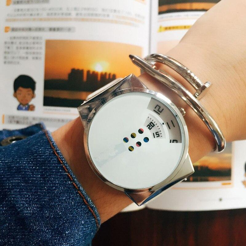 Women's Watches Black White Color Women Turntable Big Dial Leather Belt Ladies Wristwatch Quartz Wrist Watch