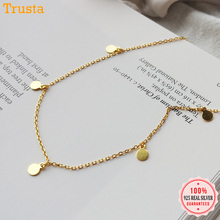 TrustDavis  Round Choker Necklace Link Chain Party Small Circle Charm For Women Fashion 925 Sterling Silver Jewelry Gift ED332