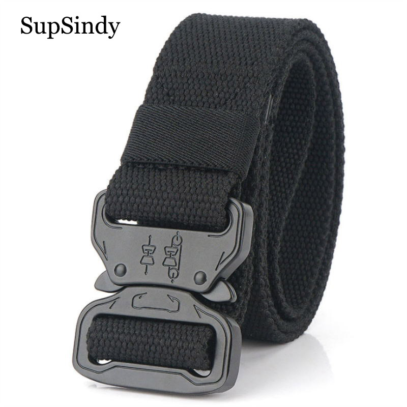 SupSindy Men Canvas Belt Quick Release Metal Buckle Nylon Training Belts Military Army Tactical Belts For Women Jeans Male Strap