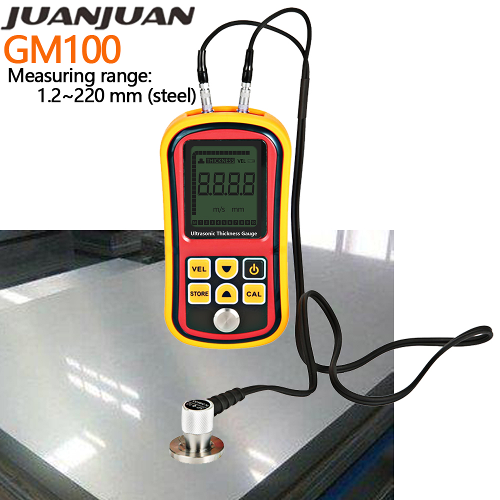 GM100 Thickness Gauge Ultrasonic Metal Testing Voice Sound Velocity Meter Steel Thickness Tester Pipe Thick Measuring TooL 37percent