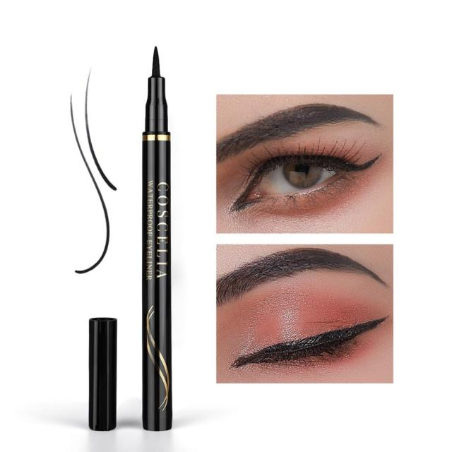 COSCELIA 1PC 2-in-1 Waterproof Seal Black Double Head Waterproof Stamp Eyeliner Pen Tattoo Stamping Eye Liner Pencil Makeup Tool 4