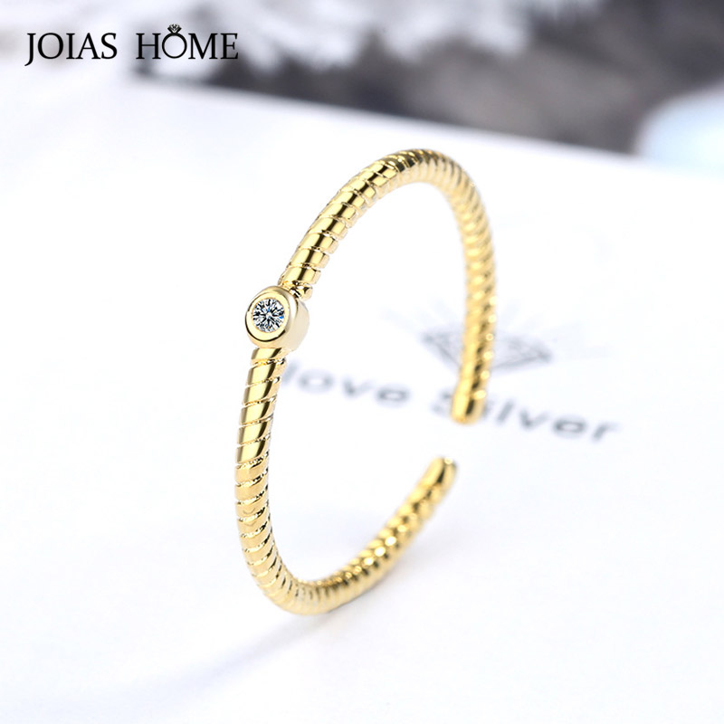 JoiasHome Simple Three in one Ring for Women Trendy Silver 925 Jewelry Gemstones Special Female Individual Character Accessory