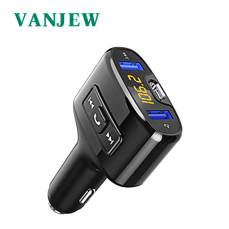 VANJEW C52 Car Accessories HandsFree Bluetooth Car Fm Transmitter Car Mp3 Player TYPE-C Fasting Charge Audio Dual USB Car Charge