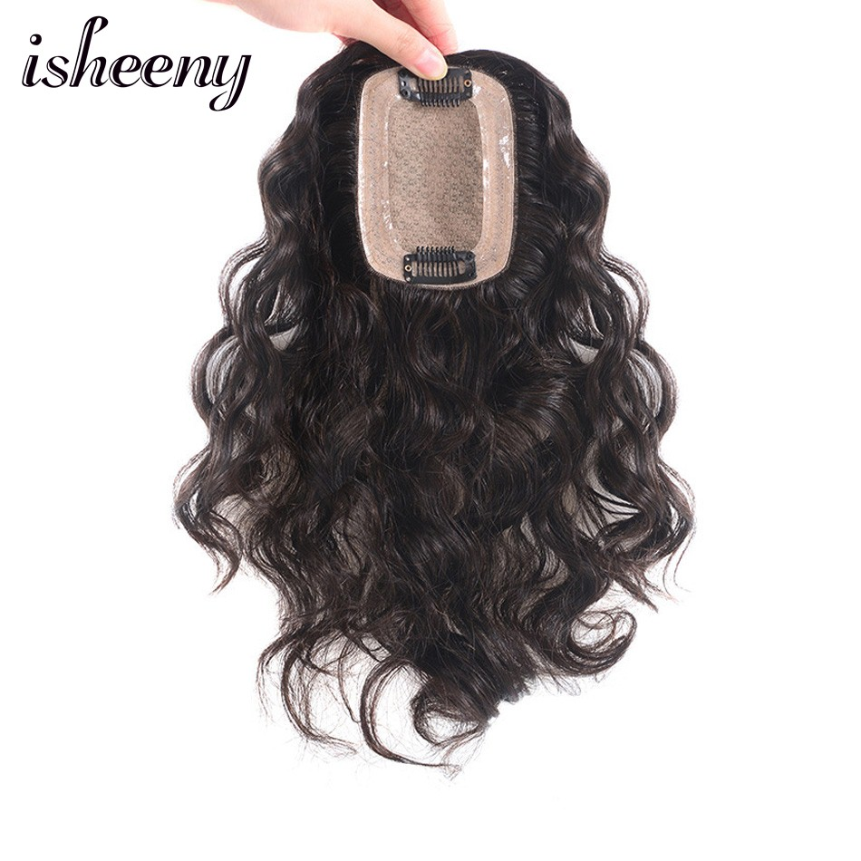 "Isheeny 8"" 10"" 12"" Human Hair Topper Wig For Women 8"" 10"" 12"" Fine MONO PU Base With Clip In Hair Toupee Remy"