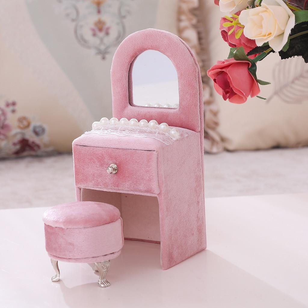 Creative Dresser Jewelry Box Pearl Lace Decor Jewelry Organizer For Girls