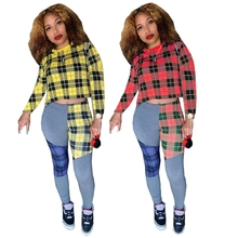 Plaid Printed Patchwork Two Piece Set Checkered Outfits For Women Crop Top And Pants Bodycon Bodysuit Sexy Casual Matching Sets