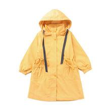 Детский плащ с капюшоном модная зимняя двубортная Длинная ветровка