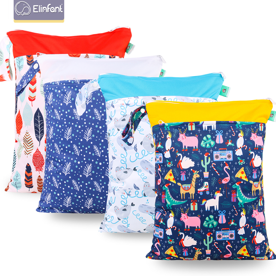 Elinfant 2pcs Cloth Diaper Wet Bag Reusable Washable Cloth Diapers With Double  Pockets And Zippers  Mall Fresh Waterproof Bag.