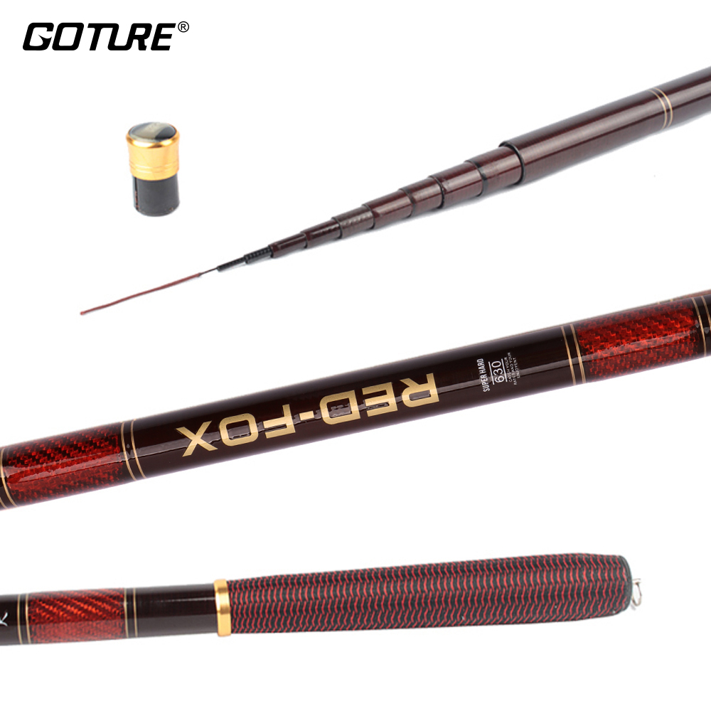 Goture RED FOX 3.0-7.2M Stream Fishing Rod Carbon Fiber Telescopic Fishing Rod Ultra Light Carp Fishing Pole