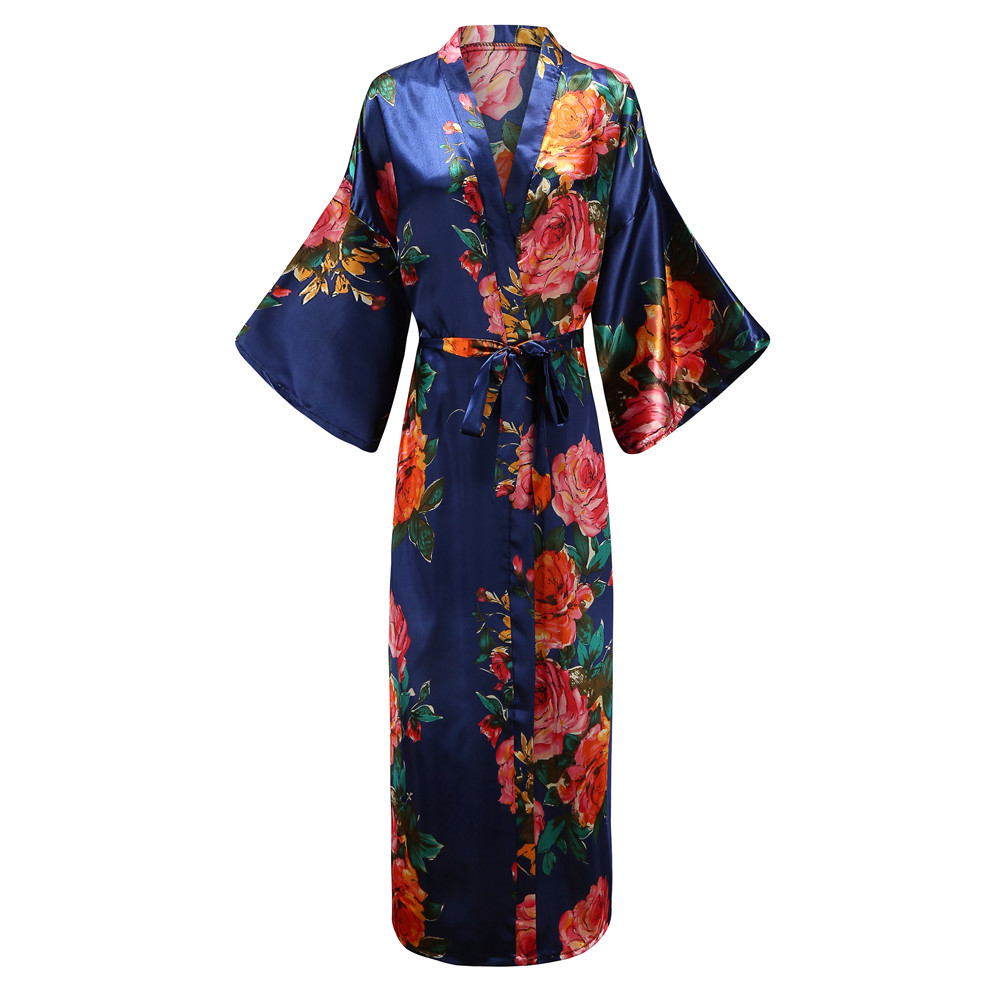 Elegant Navy Blue Women Long Kimono Robe Gown Nigntgown Exquisite Print Flower Sleepwear Nightwear Casual Soft Bath Gown 5XL 6XL