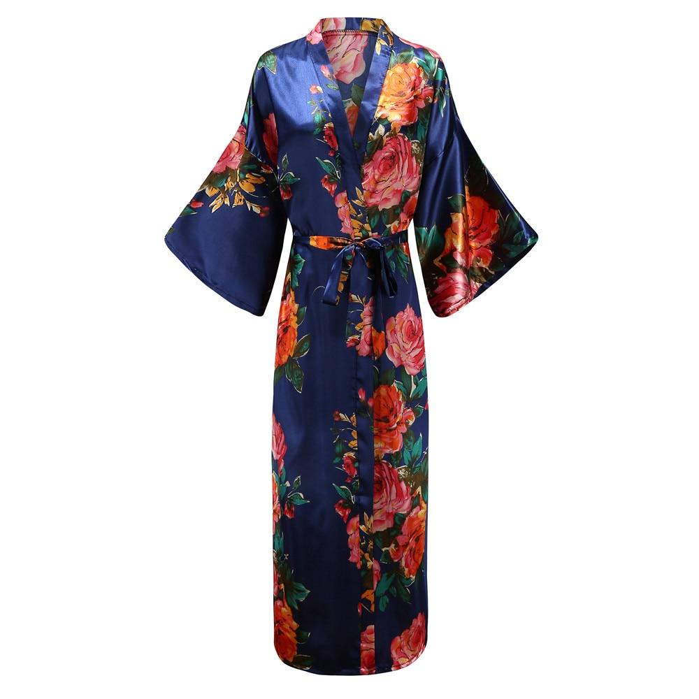 Elegant Navy Blue Women Long Kimono Robe Gown Nigntgown Exquisite Print Flower Sleepwear Nightwear Casual Soft Bath Gown 5XL 6XL