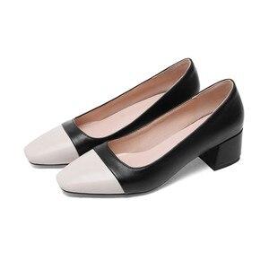 Туфли LIHUAMAO женские на квадратном каблуке, заостренный носок, без застежки, квадратный каблук, платформа, Классическая обувь на ремешке с рем...