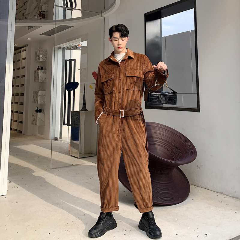 2019 Autumn Korea Ins Multi-pocket Corduroy Jumpsuit Male Loose Suede Overalls Suit Net Red Two Piece Thick Striped Black