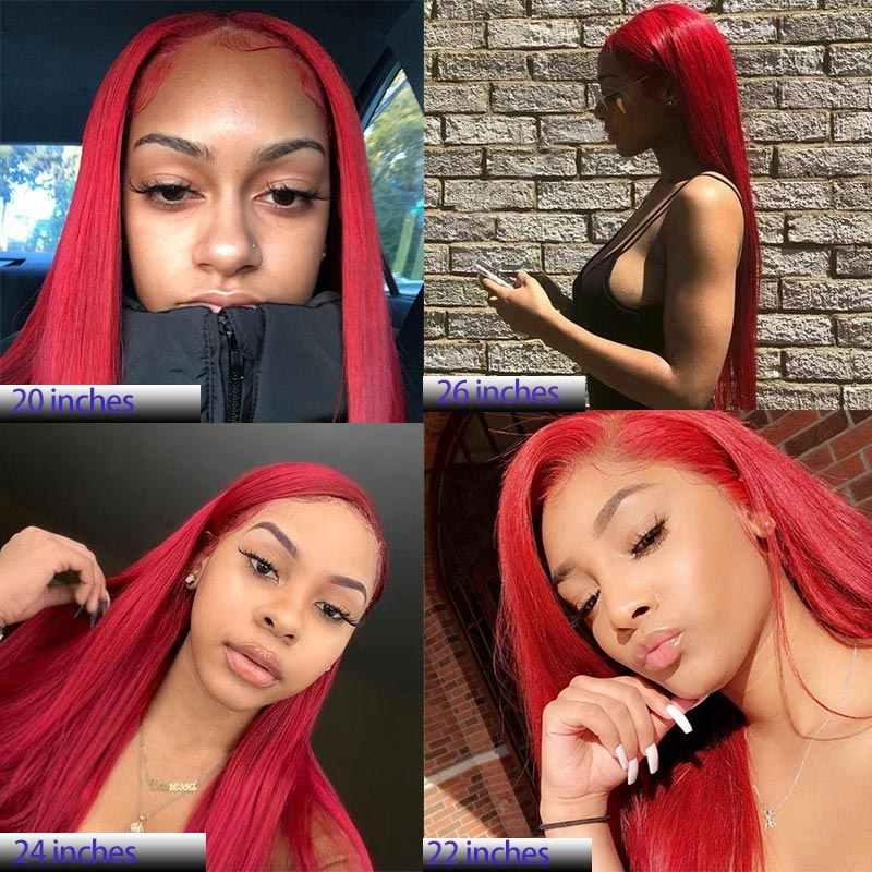 Peluca de pelo humano frontal de encaje rojo borgoña 13*4 para mujeres brasileño liso 150% Remy peluca con malla frontal Peluca de pelo Pre desplumado Remyblue