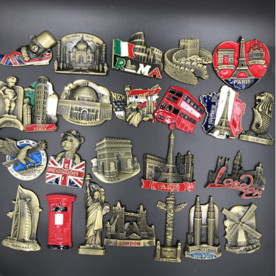 Metal Fridge Magnets 3d Magnetic USA New York Egypt Spain Dubai London Paris Italy Greece World Souvenir Fridge Magnet Gift Idea image
