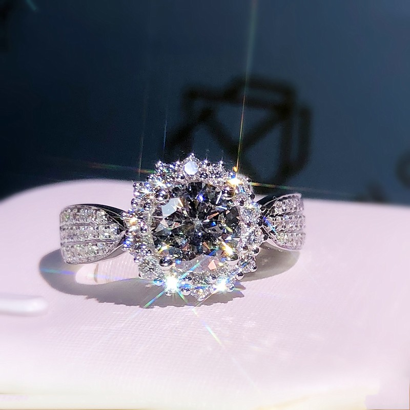 Flower shape 100% 925 Sterling Silver Ring Simulated Diamond Cz Engagement Wedding band rings for women Bridal Party Jewelry