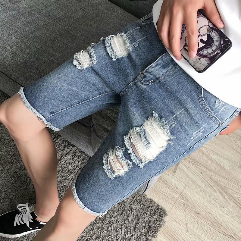 With Holes Denim Shorts Men's Fashion Loose Casual Large Size Shorts Summer Thin Section Deep Blue 5 Points Harem In Pants