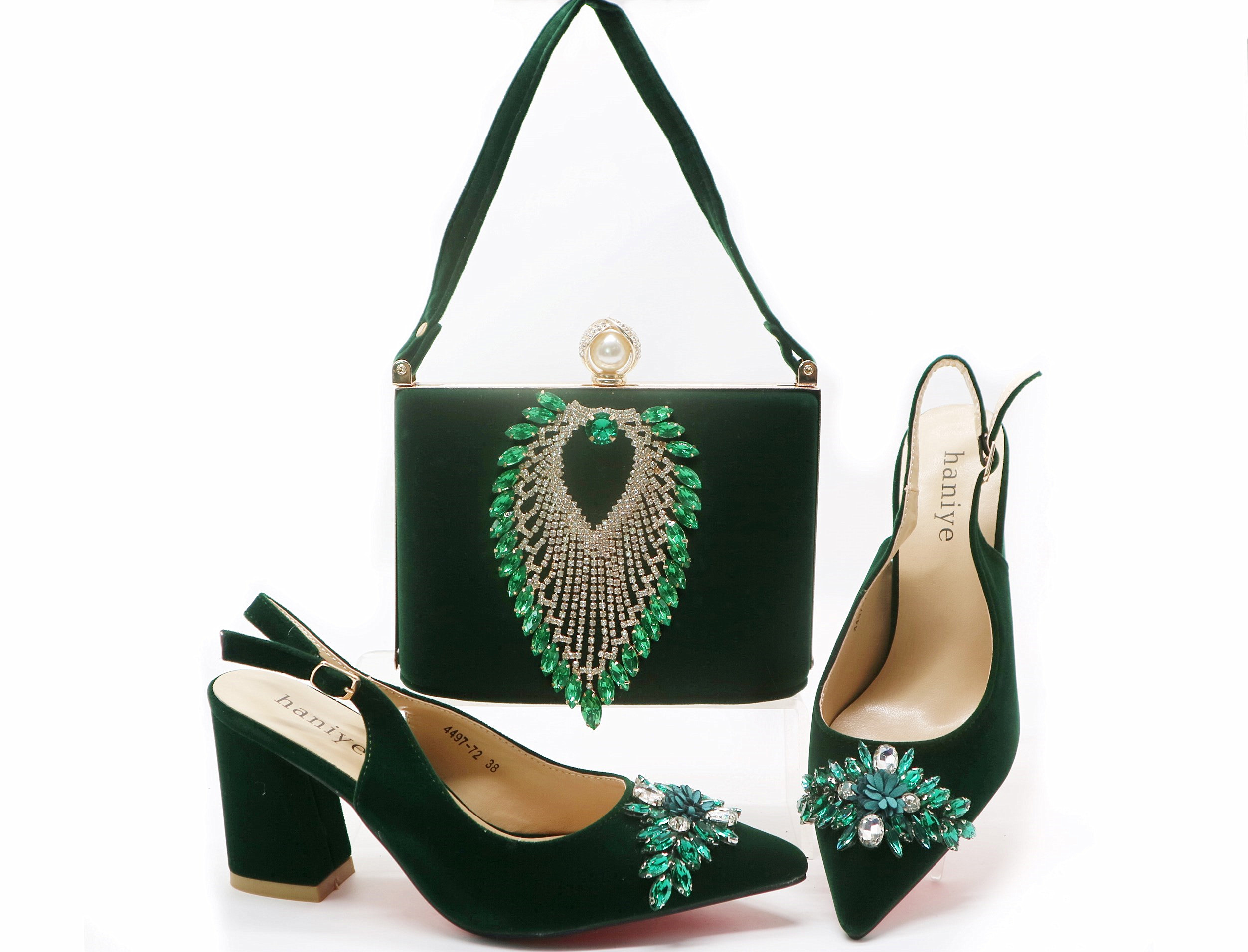 Free shipping SB8404 4 fashion italian shoes and bag teal green velvet sandal shoes and clutches bag set for african aso ebi